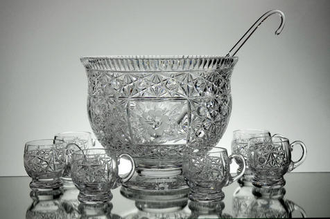 English Hand Made Punch Bowl 6 Cups & Ladle   Hand Cut & Engraved  £350.00 Unique  Call For Information  Tel:01384 397524