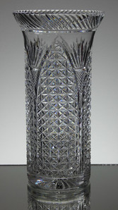 english hand made ful lead crystal vase hand cut in church window pattern size 10 x 5 inches £95.00