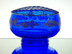 English hand made blue crystal rose bowl hand cut & engraved with gold flowers size 7.5 x 4 inches £95.00 one off