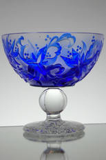 Special Piece blue casewd crystal bowl made by webb corbett crystal cameo engraved by David Smith circa in 1980,s size 7 x 6 inches call more more information