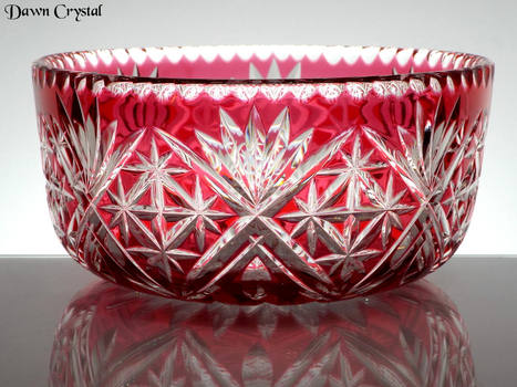 Ruby Cased Crystal Bowl