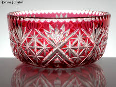 Ruby Cased Crystal Bowl