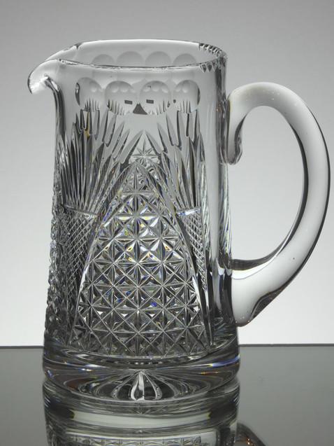 English Hand Made Full Lead Crystal 2 Pint Jug Hand Cut By Reg Everton Church Window Parren £95.00