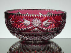 Rare Ruby Crystal Dish Hand Cut & Engraved In Beaconsfield Pattern By Reg Everton & Stewart Davis size 6 x 2.5 inches signed £120.00