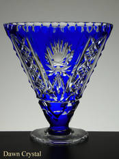 Blue Cased Crystal Vase Fan Hand Cut Size 15 x 15 x 5 cm £75.00 One Only