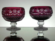 2 ruby cased small footed bowls hand made by webb corbett crystal hand cut & engraved in beaconsfield pattern by Reg Everton & Stewart Davis size 4.5 x 4.5 Unique £120.00 each