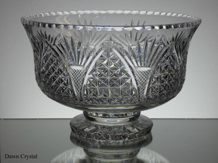 English hand made full lead crystal footed bowl hand cut church window pattern size 10 x 6.5 inches £200.00