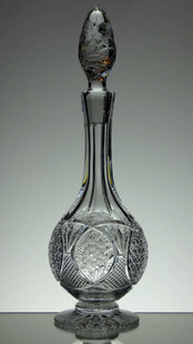 English Hand Made Full Lead Crystal Decanter Hand Cut & Engraved By Reg Everton & Stewart Davis £250.00 Unique Size 38 x 12