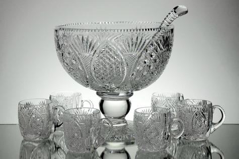 English Hand Made  Punch Bowl 6 Cups & Ladle  Curch Window Pattern £350.00 Unique  Call For Information Tel:01384 397524
