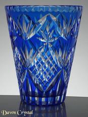 Blue Cased Crystal Vase