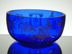 blue lead crystal bowl engraved with romans size 8 x 3.5 inches £95 one off
