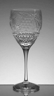 unique set of 6 wine glasses hand cut and engraved in grape and vine pattern size 8 x 3 inches  £150.00 the set