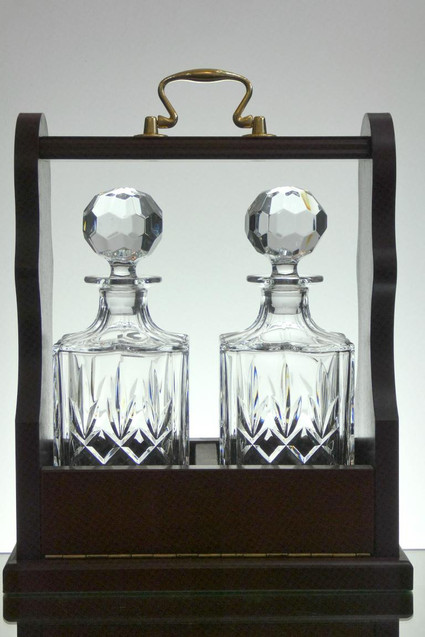 Wooden Tantalus With Two 24% Lead Crystal Decanters Hand Cut £200.00