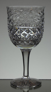 english hand made full lead crystal wine / gin glass rose pattern size 7.5 x 3.5 £40 each 6 only
