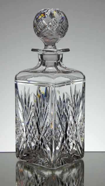 English hand made lead crystal whisky decanter hand cut in tracy pattern by Reg Everton size 10.5 x 3.5 x 3.5 £75.00 inches ( back in stock soon )
