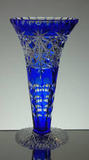 English made blue cased crystal trumpet vase hand cut by Reg Everton cobweb pattern size  9.5 x 5 £200 unique