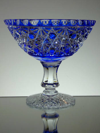 English made blue cased crystal footed bowl hand cut by Reg Everton cobweb pattern size 7.5 x 8 £250.00 Unique