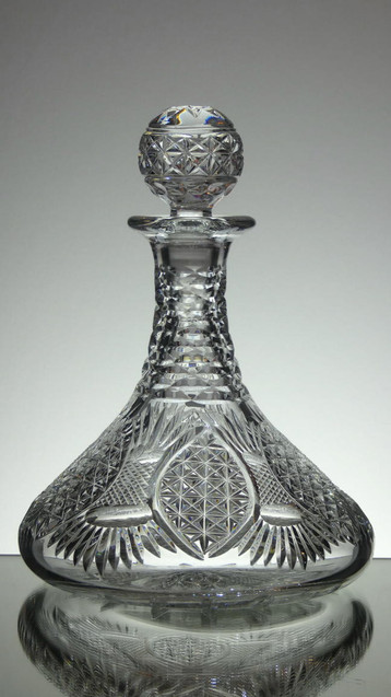 English Hand Made Lead  Crystal Ships Decanter Hand Cut By Reg Everton In  Church Window Pattern £250.00 Size 28 x 20 cm