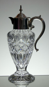 English Hand Made Claret  Jug Hand Cut With Silver Plated Top £250.00 Size 30 x 11 cm