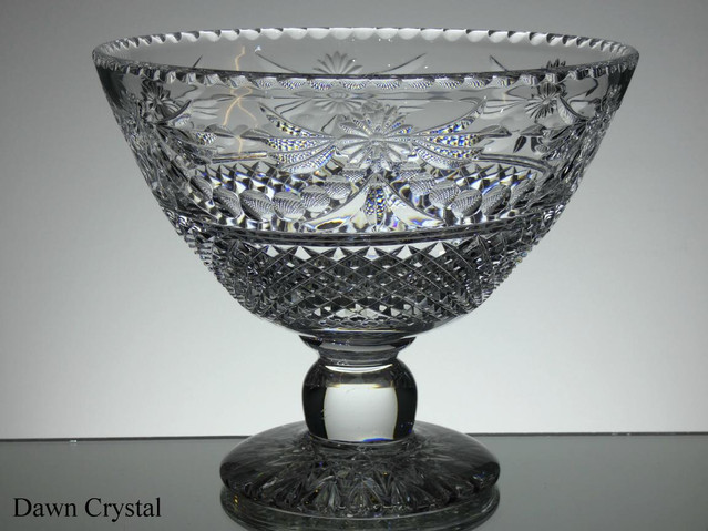 English hand made full lead crystal footed bowl Unique pieces size 10 x 8.5 inches £250.00