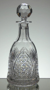 English hand made lead crystal bell shaped decanter hand cut in church window pattern by Reg Everton size 11 x 4.5 inches £95.00 unique