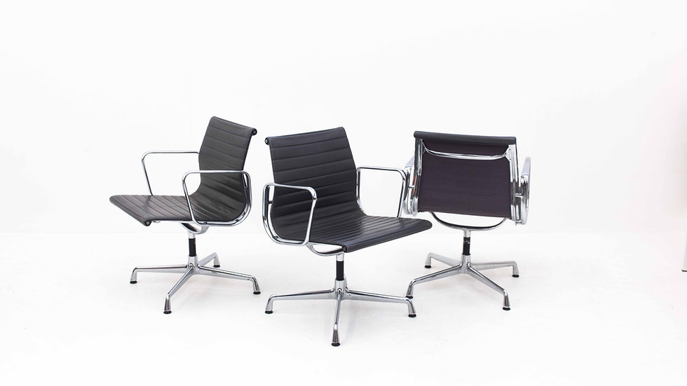 Vitra Bürostuhl EA 107 / EA 108 von Charles & Ray Eames mit grauem Leder