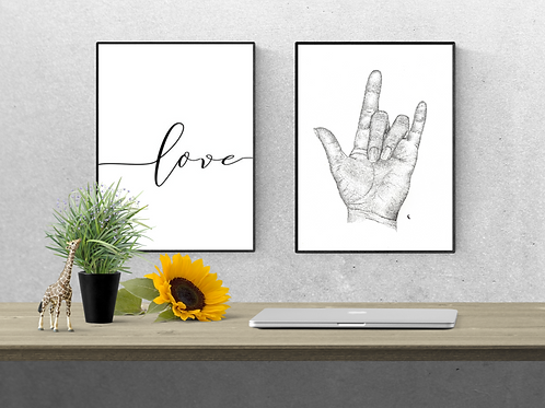 "Hand Print // ""I Love You"" Print"