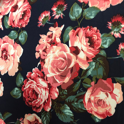 Pink Floral on Navy Scuba