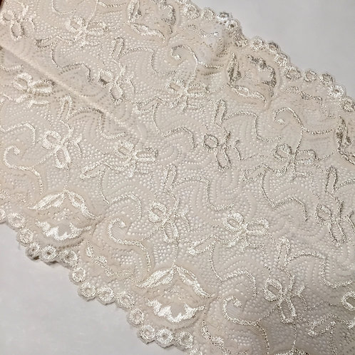 "8.25""/23cm Brushed Satin Cream Bow Stretch Galloon Lace"