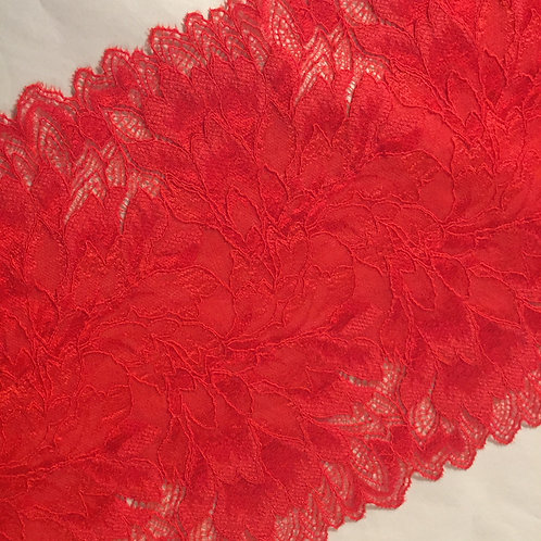 "8""/20.3cm Red Birds of Paradise Stretch Galloon Lace"