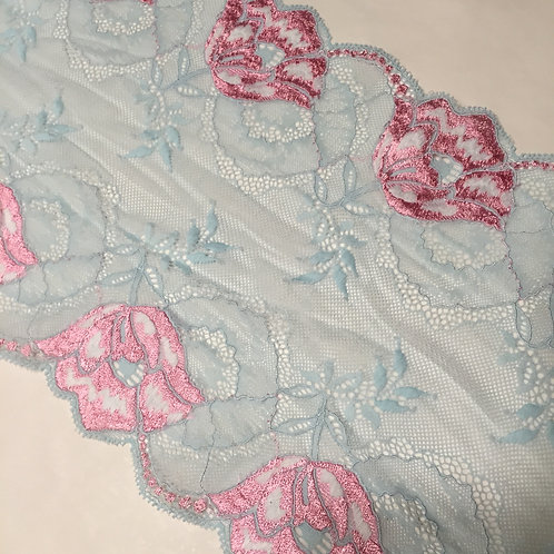 "8.5""/21.5cm Blue Raspberry & Bubblegum Floral Stretch Galloon Lace"