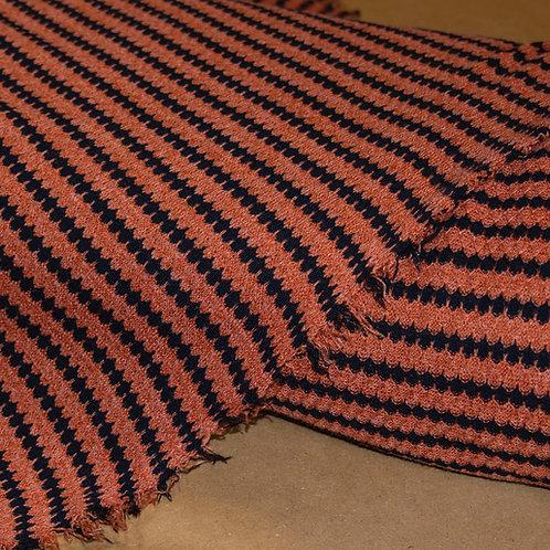 1/2 Metre Pumpkin & Black Scalloped Stripe Sweater Knit