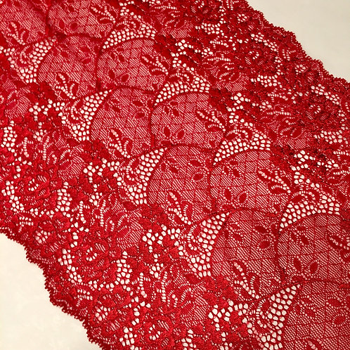 "8.25""/23cm Bronze Red Floral & Knot Stretch Galloon Lace"