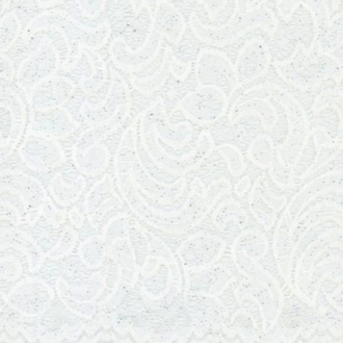 """1/2 Metre White Glitter Floral Lace 60"""" Wide"""