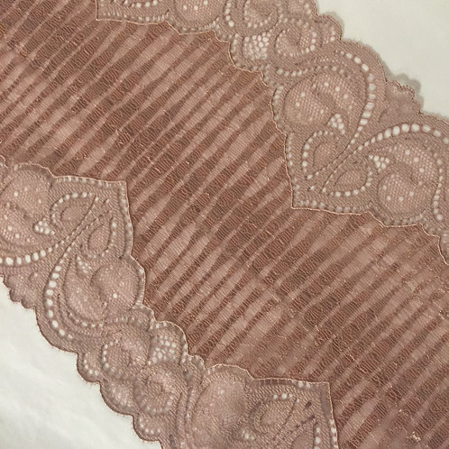 """7""""/17.75cm Mauve Vertical Vintage Stripe Stretch Galloon Lace"""
