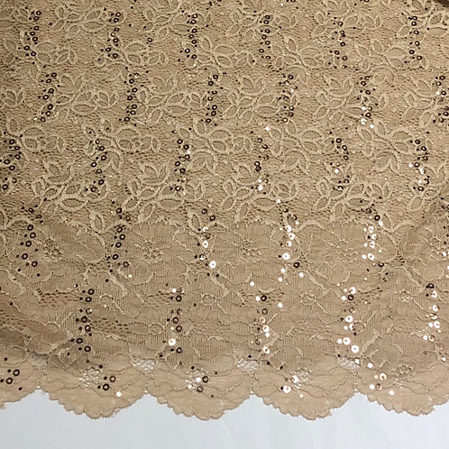 "Beige 60"" Wide Sequin Stretch Lace"