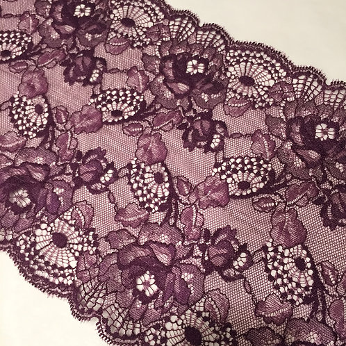 """7.25""""/18.4cm Plum Floral Stretch Galloon Lace"""