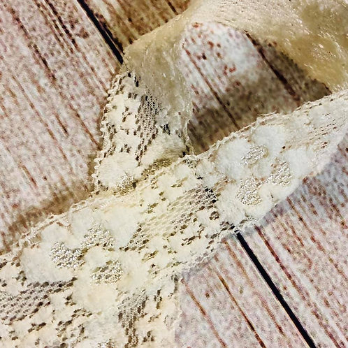 "1"" Narrow Stretch Lace - Cream"