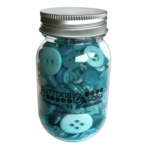 Button Mason Jar - Aqua