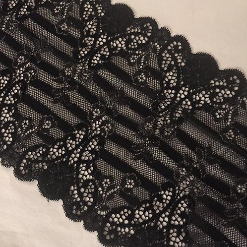 "6.75""/17.1cm Black Vintage Stripe Horizontal Stretch Galloon Lace"