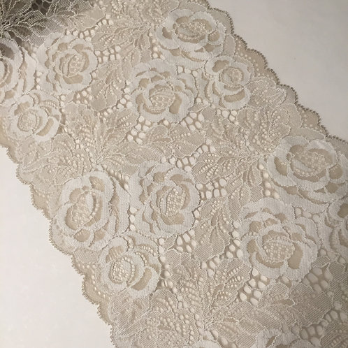 """7.25""""/18.4cm Oat & Cream Floral Stretch Galloon Lace"""