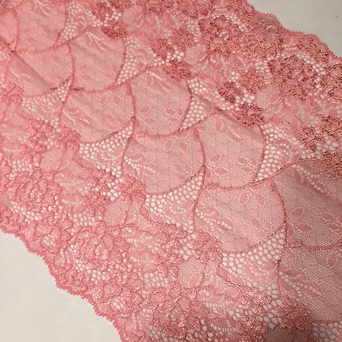 "8.5""/21.5cm Bubblegum Floral & Knot Stretch Galloon Lace"