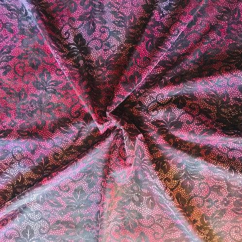 Dark Magenta Floral Printed Mesh
