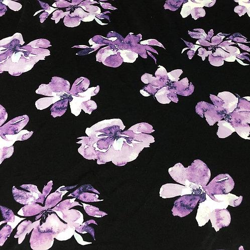 Scuba Crepe - Large Violet Watercolour Floral
