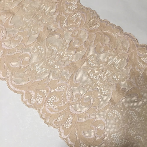 """6.75"""" Buttercream Scroll Stretch Galloon Lace"""