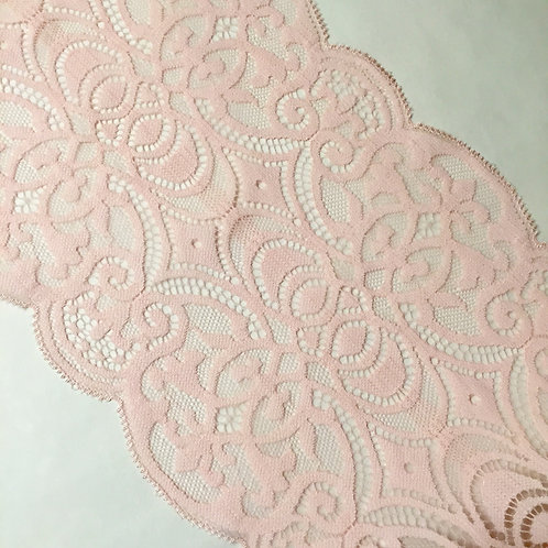 "6.75"" Light Pink Scroll Stretch Galloon Lace"