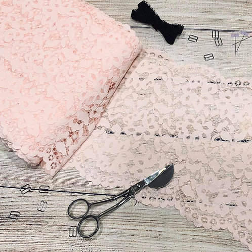 "8.75""/22cm Blush Peach Floral Stretch Galloon Lace"