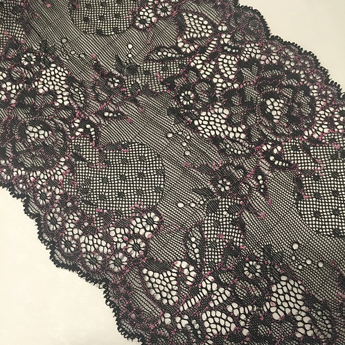 "6""/15.2cm Pink & Black Stretch Galloon Lace"