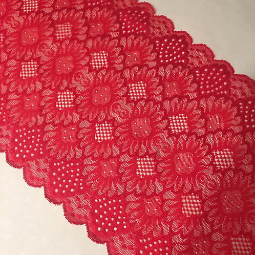 """7.75""""/19.6 Tomato Red Sunflower Stretch Galloon Lace"""