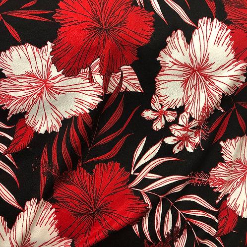 Terry Crepe - Cherry Hibiscus